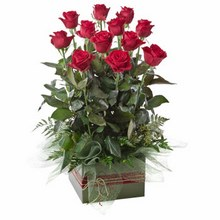 Box Arrangement of 12 Long Stemmed Red Roses