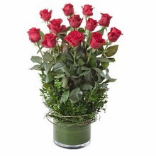 Arrangement of 12 Long Stemmed Red Roses in a Low Glass Vase