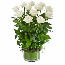 Arrangement of 12 Long Stemmed White Roses in a Low Glass Vase