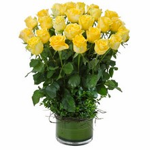 Arrangement of 24 Long Stemmed Yellow Roses in a Low Glass Vase