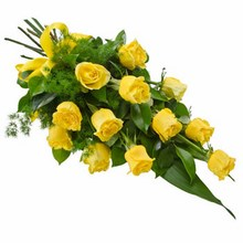 Sheaf of 12 Long Stemmed Yellow Roses
