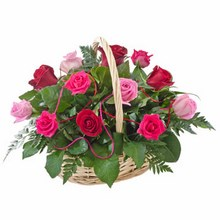 Basket of 12 Red & Pink Roses