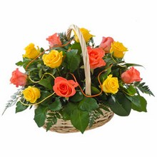 Basket of 12 Yellow & Orange Roses