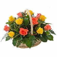 Basket of 12 Yellow & Orange Roses