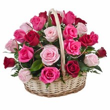 Basket of 24 Red & Pink Roses