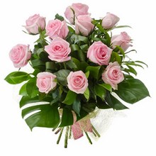 Bouquet of 12 Long Stemmed Pink Roses