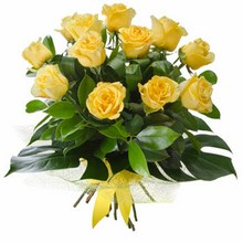 Bouquet of 12 Long Stemmed Yellow Roses