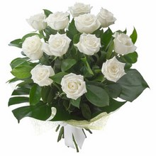 Bouquet of 12 Long Stemmed White Roses