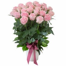 Arrangement of 24 Pink Roses in a Ceramic Pot