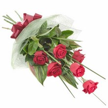 Bouquet of 6 Long Stemmed Red Roses