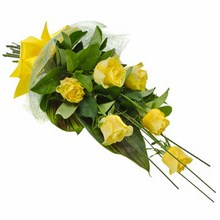 Bouquet of 6 Long Stemmed Yellow Roses