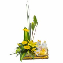 Flower Basket with Bath Time Baby Goods
