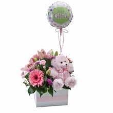 Flower Box with a Teddy Bear and Balloon