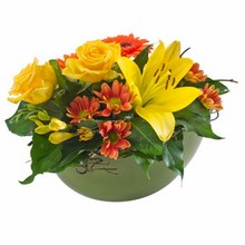 Bright Mixed Arrangement in a Ceramic Container