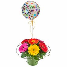 Mixed Gerberas in a Ceramic Container with a Balloon