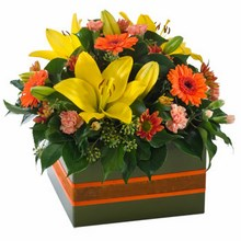 Bright and cheery box arrangement