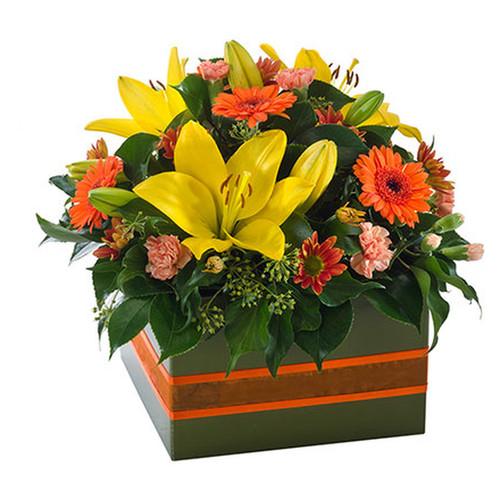 Bright and cheery box arrangement