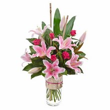 Modern Bouquet of Oriental Lilies & Roses in a Vase