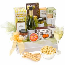 The name says it all! This hamper is literally bursting with sweet and savoury treats complemented by a bottle of quality Australian white wine.